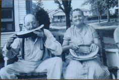 "Love this picture! I took this picture of gramma and Papa Murdock in ""1954"" at age 13. I was visiting for a couple of weeks and it portrays them as they were wonderful grandparents.  Grandma always kept people happy and laughing! Every time I see this picture it brings back a precious memory from my childhood! ❤ Karen"