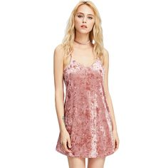 Crushed Velvet Dress Women Pink Criss Cross Back Sexy Cute Cami Summer Dresses Fashion Casual Mini A Line Dress What a beautiful image Visit us
