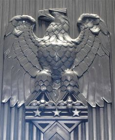 Art deco detail at the post office building in downtown Reno, Nevada, NV