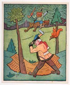 Naštvaný myslivec - litografie Bohemian Art, Book Illustration, Illustrators, Watercolour, Fairy Tales, The Past, Europe, Ink, Artists