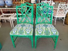 Green Faux Bamboo Chippendale Side Chairs - Set of 4 FAUX BAMBOO Chippendale Side Chairs in nice as found VINTAGE condition. There are scratches and imperfections to the newer lacquered finish. Chairs have been NEWLY upholstered.