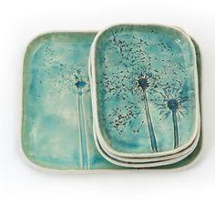 Dandelions Turquoise Ceramic Platter with dessert by DekoryNati