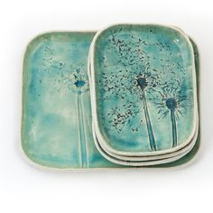 Dandelions, Turquoise Ceramic Platter with dessert plates, set of dishes, unique…