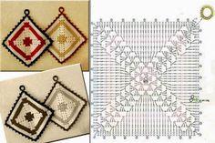 Christmas Crochet Patterns Part 5 - Beautiful Crochet Patterns and Knitting Patterns Crochet Potholders, Crochet Motifs, Crochet Stitches Patterns, Crochet Chart, Crochet Squares, Filet Crochet, Crochet Doilies, Diy Laine, Confection Au Crochet