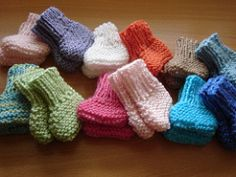 These booties can be made using baby, sport or worsted weight yarn. The finished size depends on the needle and yarn used.