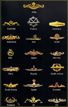 World Navy Submarine Badges Army Ranks, Military Ranks, Military Insignia, Navy Military, Military History, Naval History, Indian Police Service, Indian Army Quotes, Indian Army Special Forces