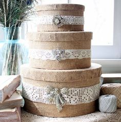 Burlap and lace boxes by Mitzi at www.mitzismiscellany.com