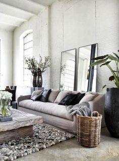 Witte bakstenen muur woonkamer