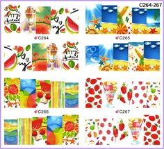 4 PACKS / LOT FULL COVER ABTRACT SUMMER BEACH TATTOOS STICKER WATER DECAL NAIL ART C264-267