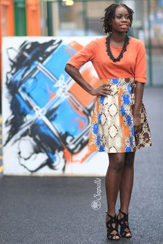 African Print Pleated Skirt - Orange