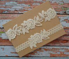 Ivory Lace Wedding Garter Set Ivory Bridal Garter Set Beaded