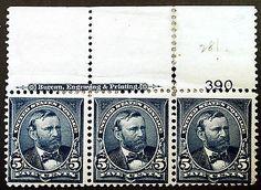 US #281 5c Blue 1898 Durland Plate #390 Mint Imprint Strip of 3