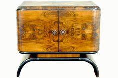 Italian Art Deco 2-door Walnut Veneered Bar Cabinet