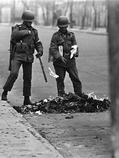 Chilean soldiers burn books after their victorious coup d'état in The US helped this coup overthrow its president, sending Chile from a free democratic government into a dictatorship. It would take until 1990 for democracy to return to Chile.