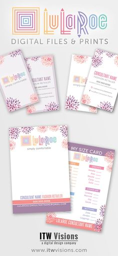Lularoe digital files or prints can be ordered at itwvisions.com. I love this watercolor flower design...so pretty! lularoe business cards, lularoe thank you cards, lularoe blitz card, lula roe my size card, care instructions, popup boutique signs and posters