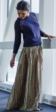 Modest metallic crinkle maxi skirt | Mode-sty