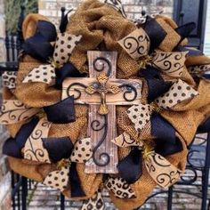 Burlap wreath with cross by dorothy