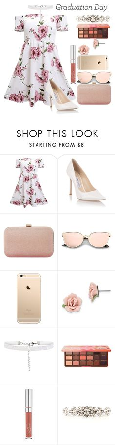"""""""Dream Girl"""" by justmehanan ❤ liked on Polyvore featuring Jimmy Choo, Dune, 1928, Too Faced Cosmetics, Dolce&Gabbana, Graduation and graduationdaydress"""
