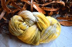 Hand dyed speckled yarn/ colorful art wool/ yellow, olive green, white, orange/ plant dyed wool/ fingering - sock weight/ soft natural wool by ForestsAndMeadows on Etsy