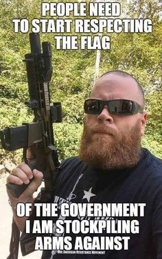 I have no problem with the second Amendment. Though this is exactly what scares me, a white guy pissed and a bit off listening to Trump owns enough guns and ammo for a small army!