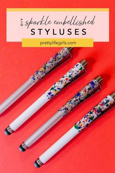 Back to School Crafts: How to Make Embellished Pencils 3 Ways // DIY Sparkley Styluses - The Pretty Life Girls | Today we're DIY-ing school supplies with three fun pencil projects, plus a way to make your styluses sparkle, too! Making something with your hands is one of the best ways to relieve stress and these embellished pencils are so much fun to create. All of them are completely functional and will be the coolest pencils in the class, wherever class may be! #backtoschoolideas Diy Projects For Kids, Crafts For Kids To Make, How To Make Diy, Diy Back To School Supplies, Back To School Crafts, School Ideas, Ways To Relieve Stress, Pencil, Sparkle