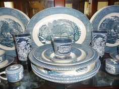 Currier and Ives - my grandparents first set of dishes. Now hangs on display in my dining room.