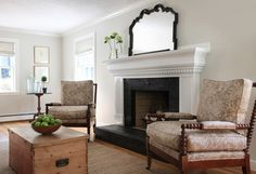just a simple large mirror on fireplace mantel and not much else.