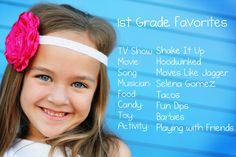 First Grade Favorites! Do this every year. Put them in a book for graduation present.- I need to remember to do this for my children [whenever that comes along] Little People, Little Ones, Projects For Kids, Crafts For Kids, Toddler Crafts, Foto Fun, Graduation Presents, Graduation Ideas, Family Traditions