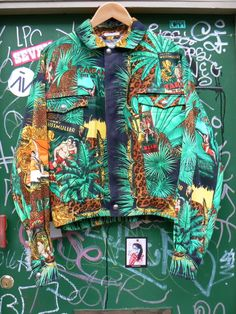 ZONE7STYLE: Vintage Gianni Versace Johnny Weissmuller Tarzan Print Jacket