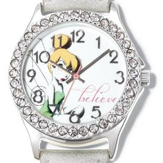 "Silver metallic band watch with rhinestone embellished case. Face of watch has a Tinkerbell graphic with the word ""believe"" in pink above the 5 o'clock mark. Regularly $29.99, buy Avon Jewelry online at http://eseagren.avonrepresentative.com"