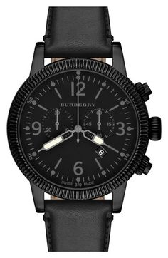 Burberry Round Leather Strap Watch, 42mm_Ʀᗩмᗩ_