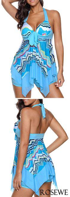 7d92c79591 Handkerchief Hem Halter Printed Swimdress and Shorts#rosewe#swimwear# swimsuit Swimsuits, Bikinis