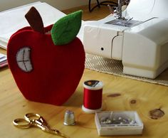 Red felted apple needlecase felt pin caseruby red pin by fraline, €6.38