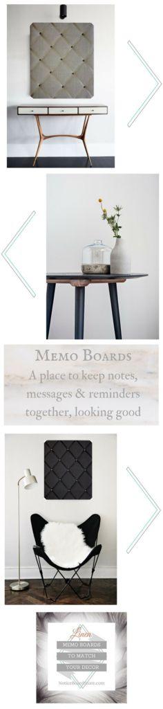 Linen Memo Boards To Match Your Interior Decor Handmade in Great Britain
