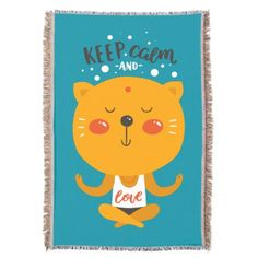Yoga Cat Keep Calm And Love Throw - home gifts ideas decor special unique custom individual customized individualized