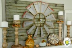Rustic Fall Mantel - Dandelion Patina-Wall art is old windmill blades! Western Decor, Country Decor, Rustic Decor, Farmhouse Decor, Rustic Mantel, Farmhouse Style, Windmill Wall Decor, Fall Mantel Decorations, Mantle Ideas