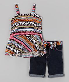 Another great find on #zulily! Pink Tribal Stripe Tank & Denim Shorts - Infant & Toddler #zulilyfinds