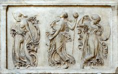 Relief with dancing Maenads. Pentelic marble. Roman copy of the late 1st cent. A.D. after a Greek original of the 5th cent. B.C.