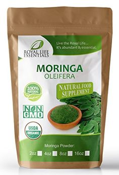 Moringa Oleifera Leaf Powder Organic 2oz Non GMO multivitamin for metabolism weight loss protein  mood boost  in smoothies  shakes  vegans  vegetarians  iron  amino acids supplements ** More info could be found at the image url.