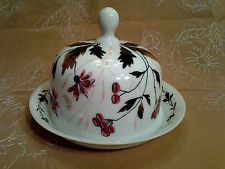 Antique Hand Painted Glass Covered Cloche Cheese Keeper Custard Yellow