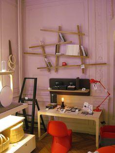 Libreria a giorno a parete laccata