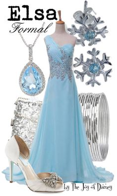 Formal outfit inspired by Elsa from the movie Frozen!I would totally wear this to Prom :)
