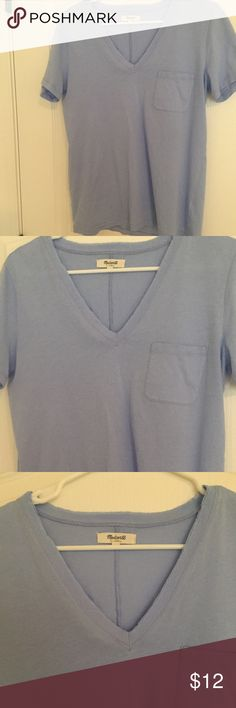 💞Madewell Tee💞/ Like New!!/ Whisper Cotton 💞Madewell Tee💞/ Like New!! / V-neck/ Size Large/ perfect condition / Light purplish blue color Madewell Tops Tees - Short Sleeve