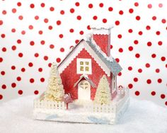 Valentine Decoration Glitter Putz House Red by HolidaySpiritsDecor, $35.00 - how absolutely adorable is this...I am in love!