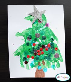 Meet the Dubiens: handprint christmas trees ~ use fabric paint and kitchen towels for Grandparent gifts!