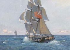 Geoff Hunt 'H. From Geoff Hunt's Speed Under Sail Series. Fantome in pursuit of a Slaver, April Nautical Artwork, Old Sailing Ships, Sailing Boat, Man Of War, Ship Paintings, Naval History, Navy Ships, Boat Plans, Ship Art
