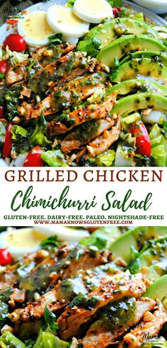 A super favorable twist on traditional chimichurri sauce is both the marinade and dressing for this glorious grilled chicken salad. This is a nightshade free (no peppers) version of Chimichurri sauce. Recipe from www.mamaknowsglutenfree #paleo #glutenfreerecipes #nightshadefree #healthyrecipes