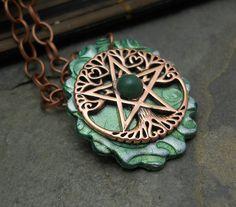 Celtic Tree of Life pentacle necklace prosperity by GypsyMoonsGems, $32.99