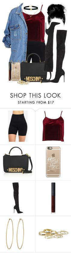 """""""Fuq your opinion"""" by blxckg0ld ❤ liked on Polyvore featuring Boohoo, Moschino, Casetify, Le Silla, NARS Cosmetics, Social Anarchy, River Island and ASOS"""