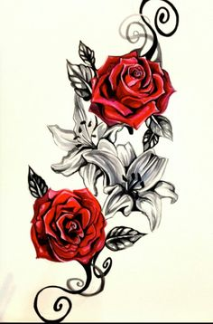 Red roses and black and white lilies with scroll